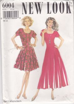 Dress with round neckline in two lengths New Look Pattern 6004    Long or short dress with round neckline. Side darts, contrast bias binding neckline. Bow at back of dress. Pattern envelope is in good condition. The main instruction sheet is included. Pattern in unused, factory folded and complete. Size 8 - 18 Size (inches) Bust 31 ½ - 40 Waist 24 - 32 Hip 33 1/2 - 42 Size (cm) Bust 80 - 102 Waist 61 - 81 Hip 85 - 107 I have lots of other vintage knitting, crochet, sewing patterns and ch...