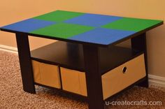 Turn a Coffee Table into a LEGO Table, my Lego desk is too hard for both kids to access, this is a $36 table on amazon, 6 Lego plates at $4.99 each on amazon