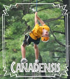 Going for a swing on the Camp Canadensis zipline!
