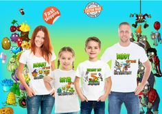 Plant vs Zombie Birthday theme Shirts, Personalized Birthday Party outfits, Gift for Birthday boy, Gift for him, personalized Tee Zombie Birthday Parties, 5th Birthday Party Ideas, Zombie Party, Birthday Party Outfits, 9th Birthday, Birthday Gifts, Gifts For Him, Plants, Polymer Clay Tutorials