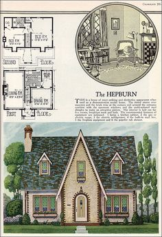 William A. Radford - American Builder - The Hepburn - English Cottage Style - Vintage House Plans - American Residential Architecture Cottage Style House Plans, English Cottage Style, House Plans One Story, Cottage Style Homes, Small House Plans, House Floor Plans, English Cottages, French Country, The Plan