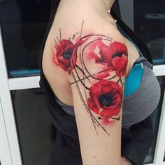 Fun poppies!!! #watercolor #watercolour #watercolortattoo #watercolorflowers #flowertattoo #flower #poppy #poppies #womenwithtattoos #abstract #art #tattoo #tattooedwomen #colortattoo #Knoxvilletattoo - jonotattoos via Instagram