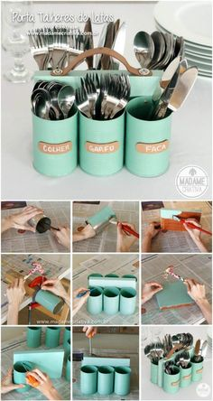 recycled tin can cutlery holder
