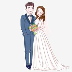 Hand Painted Wedding Bride And Groom Illustration, White Wedding Dress, Wedding Figures, Wedding Car Groom Wedding Dress, White Wedding Dresses, Wedding Couples, Wedding Bride, Cute Couples, Wedding Favors, Paar Illustration, Wedding Illustration, Couple Illustration