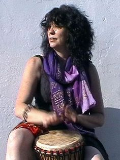 Djembe... hand drum woman in lavender...