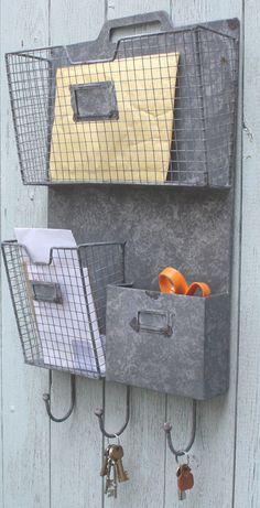 Vintage Industrial Metal Wire Grey Wall Storage Unit Magazine Rack Hooks Shelf in Home, Furniture & DIY, Furniture, Bookcases, Shelving & Storage | eBay