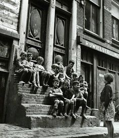 """Children in the Jordaan section of Amsterdam playing """"school class"""". Amsterdam Holland, New Amsterdam, Old Pictures, Old Photos, Vintage Photographs, Vintage Photos, Amsterdam Jordaan, Old Photography, Human Condition"""