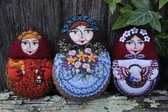 A trio of Easter ladies.... some of the pieces first cut in 2009... all finished now and adopted out to good homes