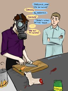 punkypeggy.deviantart.com Legally title sherlock cooking....the whovian in me thinks he is looking for his mummy
