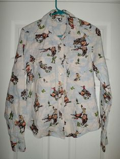 Women's White, Multi-Color ROCKIES Pearl Style Snap Button Western Shirt, Size S #ROCKIES #CountryWesternPearlStyleSnapButtonDownShirt #Casual