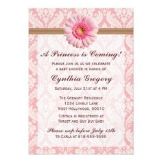Pale Pink and Brown Daisy Baby Shower Invitation