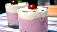 Domáce višňové latte s tvarohom, pripravené za pár minút! Desserts In A Glass, Mousse, Latte, Panna Cotta, Pudding, Sweets, Cream, Ethnic Recipes, Food