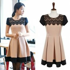 And Cute Elegant Lace Neck Patchwork Color Slim Pleated Dress For Women Fashion Wear Fashion Wear, Womens Fashion, Fashion 2014, Fasion, Autumn Fashion, Fashion Vestidos, Dress Link, Beige Dresses, Chiffon Dresses