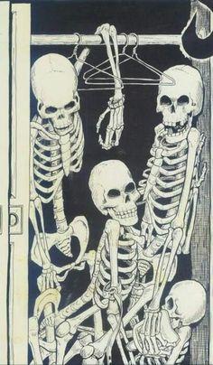 skeletons in the wardrobe / esqueletos no armário Image Swag, Skeleton Art, Skeleton Photo, Funny Skeleton, Skeleton Makeup, Skeleton Bones, Skull Makeup, Skull And Bones, Skull Art