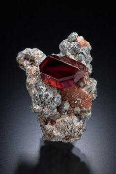 Grossular Garnet var. Heaaonite with Clinochlore Crystals on a Matrix