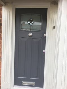 Rockdoor Newark are very popular. Rockdoors are the only composite door manufacturer to make a door so suited to the Fitted from Cottage Front Doors, Victorian Front Doors, Front Door Porch, Grey Front Doors, Front Porch Design, Exterior Front Doors, House Front Door, Painted Front Doors, Front Windows