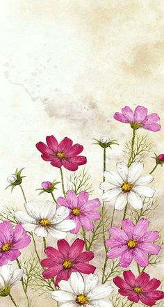 Solve Couleurs de fleurs jigsaw puzzle online with 120 pieces Fabric Painting, Painting & Drawing, Watercolor Flowers, Watercolor Paintings, Cosmos Flowers, Flower Wallpaper, Flower Art, Art Drawings, Art Projects