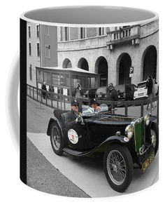 A Classic Vintage British Mg Car Coffee Mug by Marina Usmanskaya.  Small (11 oz.)  M.G. TA Midget 2-Seater Sports 1936 vintage car in Ferrara Italy  #MarinaUsmanskayaFineArtPhotograph #HomeDecor #ArtForHome #FineArtPrints #Italy #Ferrara #Retro #CoffeeMug
