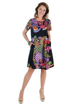 La Cera Mexican Floral Dress 2522 Front