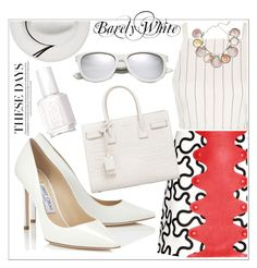 """""""Nearly White"""" by clairecoloursme on Polyvore featuring Jimmy Choo, J.W. Anderson, Topshop, Yves Saint Laurent, Paolo Costagli, Essie and Calypso Private Label"""