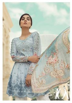Maria B Lawn Collection 2018 Best Pakistani Designer Summer Dresses is part of lawn Design Summer - Pakistan's best designer Maria B lawn collection 20182019 consisting of premium lawn chicken, swiss, digital printed & embroidered suits! Pakistani Clothes Casual, Pakistani Clothes Online, Pakistani Fashion Casual, Desi Clothes, Pakistani Outfits, Indian Fashion, Beautiful Pakistani Dresses, Pakistani Dress Design, Pakistani Designers