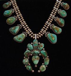 Squash Blossom Necklace of all-natural, hand-cut turquoise & sterling silver - Jewelry - by The Lister Family