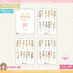 PP/196/CC/SL-V - Print&Play - CUTE CUTS - Simply Lady-Vintage - Vibrance Collection
