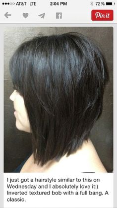 Inverted textured bob with full bangs...