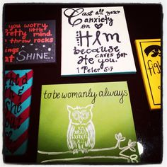 Chi O crafting… someone at IOWA! Love the green owl piece.