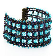 Cuff  bracelet Herringbone cuff bracelet Iris blue by liorajewelry, $60.00