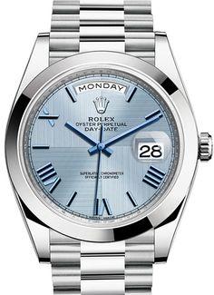 Rolex 228206 Ice blue quadrant motif Day-Date 40 mm Platinum. #rolex