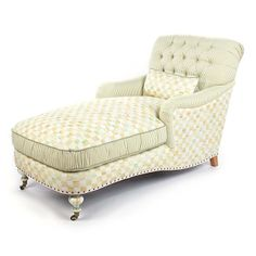 MacKenzie-Childs - Parchment Check Underpinnings Chaise