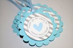Boys Baby Shower Favor Tags Blue and Gray by sosweetpartyshop