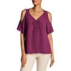 Nanette Lepore Cold-Shoulder Blouse featuring polyvore, women's fashion, clothing, tops, blouses, raspberry, lace up top, cut out shoulder top, v neck tops, purple blouse and cut-out shoulder tops