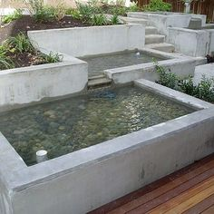 Formed concrete two-tier fountain/pond combos
