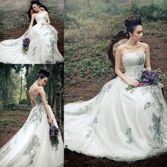 estilo fada 2015 personalizado feito um império linha de vestidos de noiva sexy sem encosto de casamento strapless