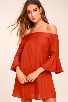 #Lulus - #Lulus Day Out Rust Orange Off-the-Shoulder Shift Dress - AdoreWe.com