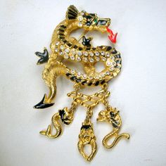 Dragon  Pin w Charm Dangles Rhinestones on by VintageStarrBeads