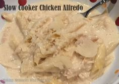 Slow Cooker Chicken Alfredo Recipe Main Dishes with chicken breasts, heavy cream, low sodium chicken broth, olive oil, shredded parmesan cheese, penne pasta, hot water, salt, black pepper