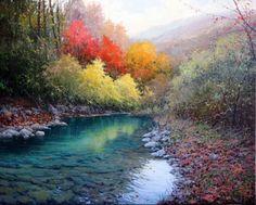 Pintar con espátula paisajes hermosos | Pintar al óleo California Art, Natural Scenery, Pastel Drawing, Outdoor Landscaping, American Artists, Art Techniques, Landscape Paintings, Landscapes, Oil On Canvas