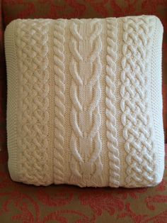 Cable knit fisherman sweater pillow cover cream by morningtearose