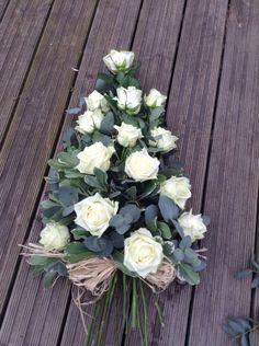 White rose funeral flower spray white Naomi rose www. Funeral Spray Flowers, Funeral Sprays, Arrangements Funéraires, Funeral Flower Arrangements, Funeral Bouquet, Casket Flowers, Funeral Tributes, Memorial Flowers, Cemetery Flowers