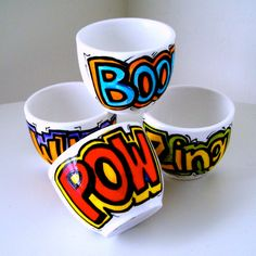 Ceramic Cup Set Sake Cup Comic Book Sound FX Geekery shot glasses Hand Painted Pow Boom - Made to order. $55.00, via Etsy.
