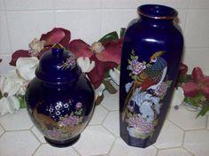 Large Oriental Vase and Ginger Jar Set by KeepsakeVintage on Etsy, $32.00