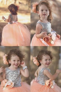 #coral Flower Girl Dresses #silver sequins Flower Girl Dresses #Sweet Flower Girl Dresses #Flower Girl Dresses with Bowknot