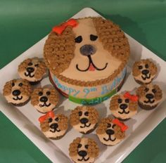 """Dog cake with """"puppy"""" cupcakes. Puppy Birthday Cakes, Puppy Birthday Parties, Puppy Party, 2nd Birthday, Themed Birthday Cakes, Birthday Ideas, Puppy Cupcakes, Puppy Cake, Cute Cakes"""
