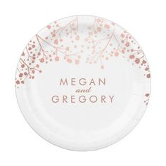 #white - #White and Rose Gold Baby's Breath Wedding Paper Plate