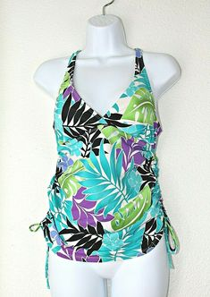 573ea50492 SOUTH POINT Tankini Swimsuit Top Black White Green Blue Purple Leaves Sz 12  SEXY #SouthPoint #TankiniTop