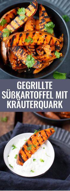 Gegrillte Süßkartoffeln mit Kräuterquark. Super einfach und perfekt als Beilage - Kochkarussell.comGegrillte Süßkartoffeln mit Kräuterquark. Super einfach und perfekt als Beilage - Kochkarussell.com