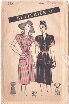1940s Dress Pattern Butterick 3821 V Neck by FriskyScissors